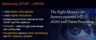 Global Foundries 22nm eMRAM slide