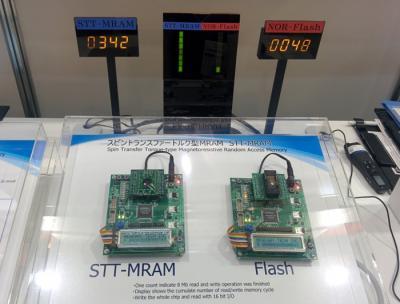 TDK STT-MRAM vs NOR FLASH speed comparison, CEATEC 2014